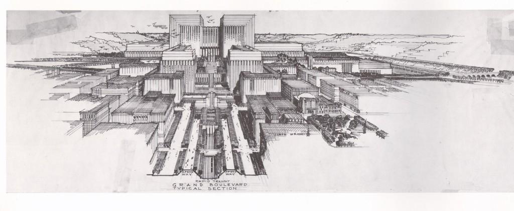 Lloyd Wright Civic Center Plan 1925, Courtesy of Eric Lloyd.