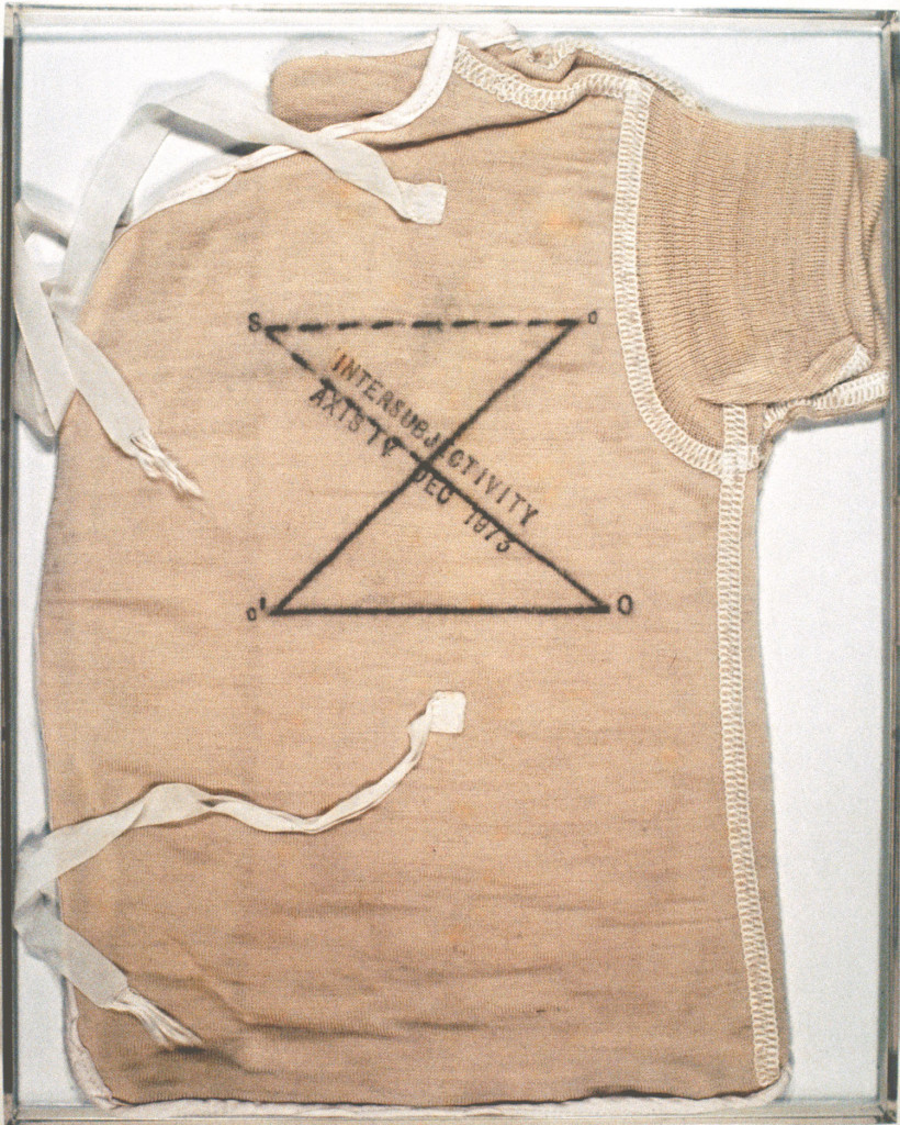 Mary Kelly. Post Partum Document: Introduction, 1973. Perspex units, white card, wool vests, pencil, ink 15 units: 10 x 8 in. (25.4 x 20.3 cm), each. Collection of Eileen Harris Norton. Image Courtesy of the artist and Postmasters Gallery, New York.